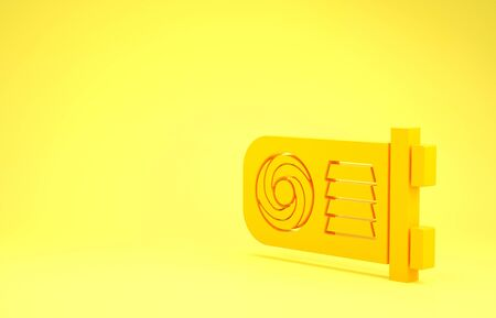 Yellow Mining farm icon isolated on yellow background. Cryptocurrency mining, blockchain technology, bitcoin, digital money market, wallet. Minimalism concept. 3d illustration 3D render Banco de Imagens