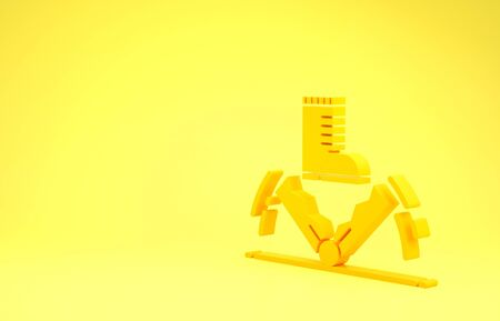 Yellow Trap hunting icon isolated on yellow background. Minimalism concept. 3d illustration 3D render