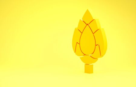 Yellow Hop icon isolated on yellow background. Minimalism concept. 3d illustration 3D render Фото со стока