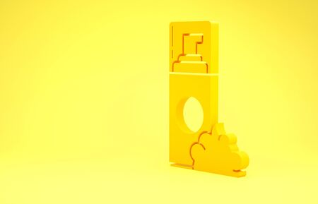 Yellow Shaving gel foam icon isolated on yellow background. Shaving cream. Minimalism concept. 3d illustration 3D render Stock Photo