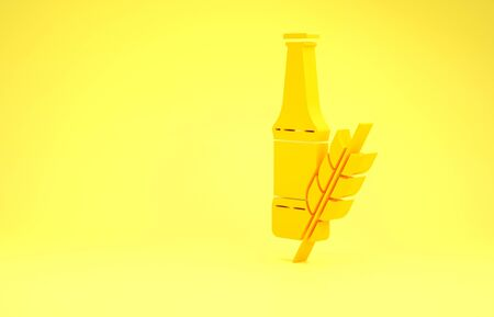 Yellow Beer bottle icon isolated on yellow background. Minimalism concept. 3d illustration 3D render Фото со стока