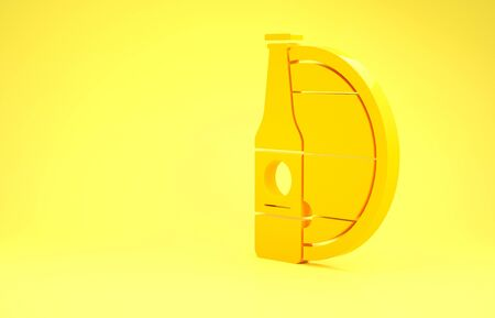 Yellow Beer bottle and wooden barrel icon isolated on yellow background. Minimalism concept. 3d illustration 3D render Фото со стока