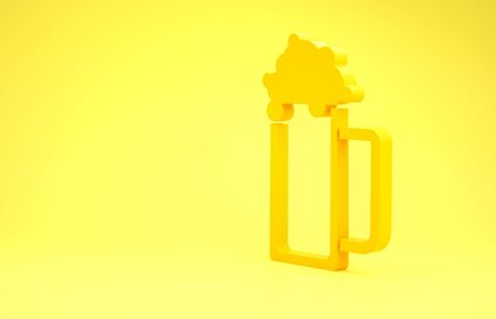 Yellow Glass of beer icon isolated on yellow background. Minimalism concept. 3d illustration 3D render