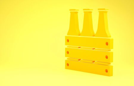 Yellow Pack of beer bottles icon isolated on yellow background. Wooden box and beer bottles. Case crate beer box sign. Minimalism concept. 3d illustration 3D render