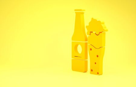 Yellow Beer bottle and glass icon isolated on yellow background. Alcohol Drink symbol. Minimalism concept. 3d illustration 3D render