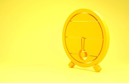 Yellow Wooden barrel on rack with stopcock icon isolated on yellow background. Minimalism concept. 3d illustration 3D render Фото со стока