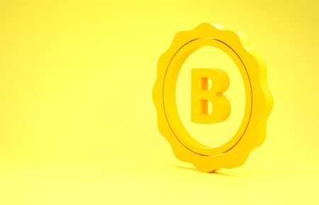 Yellow Bottle cap with inscription beer icon isolated on yellow background. Minimalism concept. 3d illustration 3D render