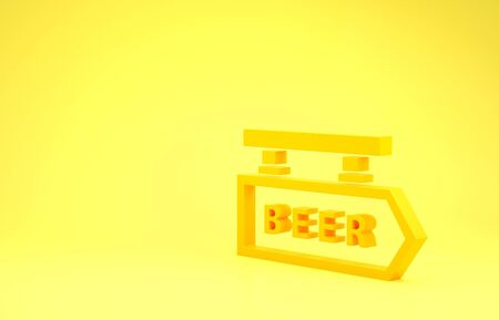 Yellow Street signboard with inscription Beer icon isolated on yellow background. Suitable for advertisements bar, cafe, pub, restaurant. Minimalism concept. 3d illustration 3D render Фото со стока