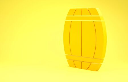 Yellow Wooden barrel icon isolated on yellow background. Alcohol barrel, drink container, wooden keg for beer, whiskey, wine. Minimalism concept. 3d illustration 3D render