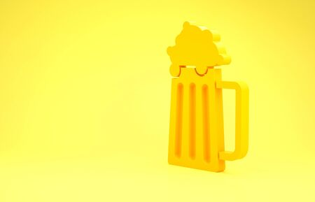Yellow Wooden beer mug icon isolated on yellow background. Minimalism concept. 3d illustration 3D render