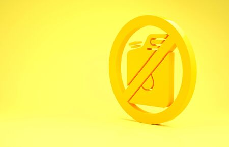 Yellow No canister for gasoline icon isolated on yellow background. Diesel gas icon. Minimalism concept. 3d illustration 3D render Reklamní fotografie