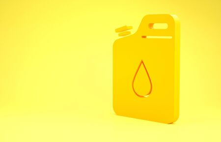 Yellow Canister for gasoline icon isolated on yellow background. Diesel gas icon. Minimalism concept. 3d illustration 3D render Reklamní fotografie