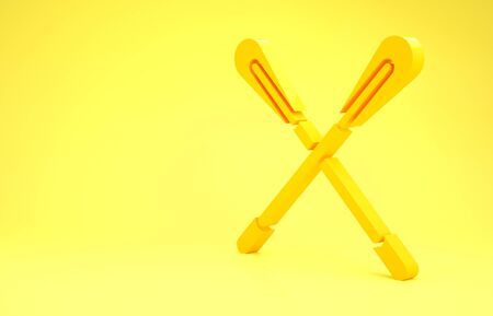 Yellow Crossed paddle icon isolated on yellow background. Paddle boat oars. Minimalism concept. 3d illustration 3D render