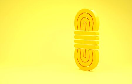 Yellow Climber rope icon isolated on yellow background. Extreme sport. Sport equipment. Minimalism concept. 3d illustration 3D render Banco de Imagens