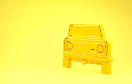Yellow Off road car icon isolated on yellow background.