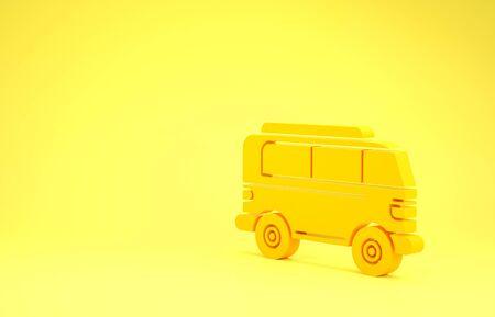 Yellow Retro minivan icon isolated on yellow background. Old retro classic traveling van. Minimalism concept. 3d illustration 3D render