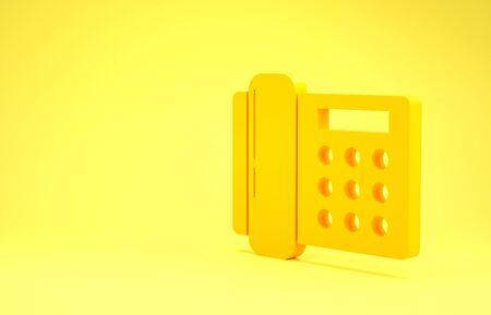 Yellow Telephone icon isolated on yellow background. Landline phone. Minimalism concept. 3d illustration 3D render Foto de archivo - 137415663