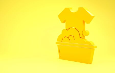 Yellow Plastic basin with soap suds icon isolated on yellow background. Bowl with water. Washing clothes, cleaning equipment. Minimalism concept. 3d illustration 3D render