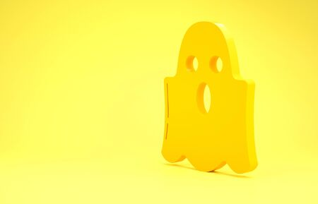 Yellow Ghost icon isolated on yellow background. Happy Halloween party. Minimalism concept. 3d illustration 3D render Reklamní fotografie