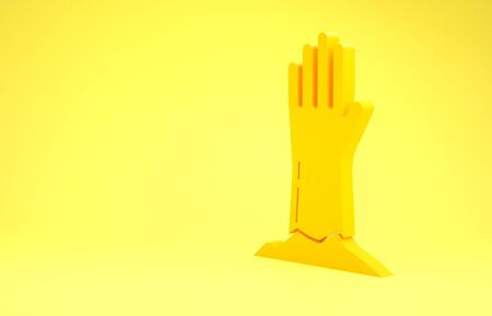 Yellow Zombie hand icon isolated on yellow background. Arm monster dead. Happy Halloween party. Minimalism concept. 3d illustration 3D render 写真素材
