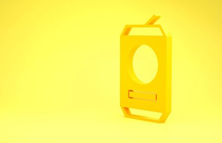 Yellow Beer can icon isolated on yellow background. Minimalism concept. 3d illustration 3D render Фото со стока