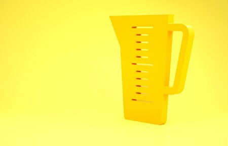 Yellow Measuring cup to measure dry and liquid food icon isolated on yellow background. Plastic graduated beaker with handle. Minimalism concept. 3d illustration 3D render Banco de Imagens
