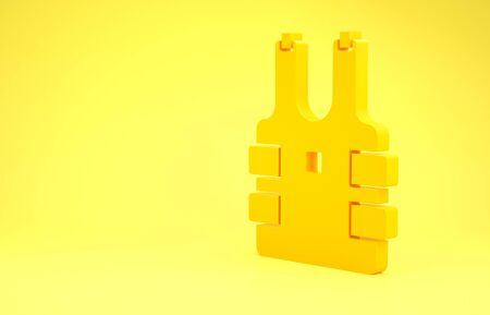 Yellow Bulletproof vest for protection from bullets icon isolated on yellow background. Body armor sign. Military clothing. Minimalism concept. 3d illustration 3D render