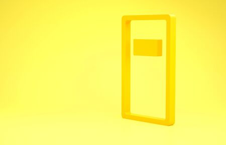 Yellow Police assault shield icon isolated on yellow background. Minimalism concept. 3d illustration 3D render