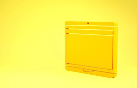 Yellow Laptop with app delivery tracking icon isolated on yellow background. Parcel tracking. Minimalism concept. 3d illustration 3D render