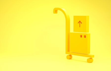 Yellow Hand truck and boxes icon isolated on yellow background. Dolly symbol. Minimalism concept. 3d illustration 3D render Stok Fotoğraf