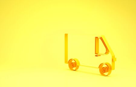 Yellow Delivery cargo truck vehicle icon isolated on yellow background. Minimalism concept. 3d illustration 3D render