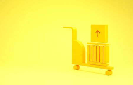 Yellow Electric hand truck and boxes icon isolated on yellow background. Dolly symbol. Minimalism concept. 3d illustration 3D render