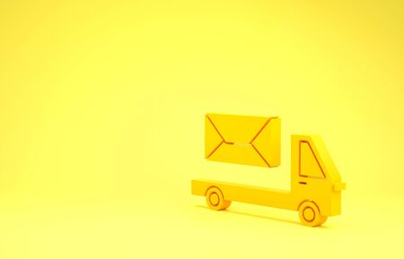 Yellow Post truck icon isolated on yellow background. Mail car. Vehicle truck transport with envelope or letter. Minimalism concept. 3d illustration 3D render
