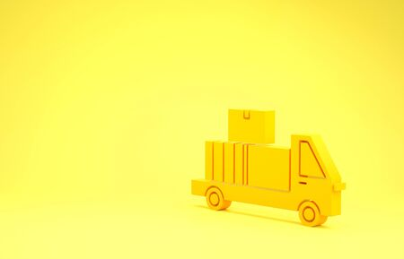 Yellow Delivery truck with cardboard boxes behind icon isolated on yellow background. Minimalism concept. 3d illustration 3D render