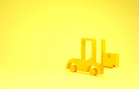 Yellow Forklift truck icon isolated on yellow background. Fork loader and cardboard box. Cargo delivery, shipping, transportation. Minimalism concept. 3d illustration 3D render
