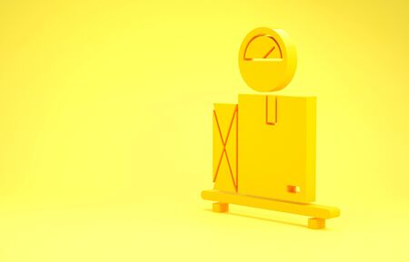 Yellow Scale with cardboard box icon isolated on yellow background. Logistic and delivery. Weight of delivery package on a scale. Minimalism concept. 3d illustration 3D render