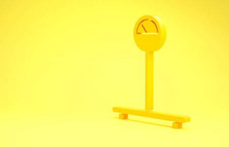 Yellow Scale icon isolated on yellow background. Logistic and delivery. Weight of delivery package on a scale. Minimalism concept. 3d illustration 3D render
