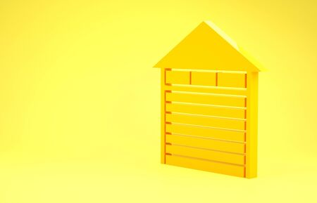 Yellow Closed warehouse icon isolated on yellow background. Minimalism concept. 3d illustration 3D render
