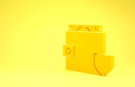 Yellow Wallet and money with shield icon isolated on yellow background. Insurance concept. Security, safety, protection, protect concept. Minimalism concept. 3d illustration 3D render