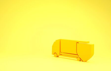 Yellow Delivery cargo truck with shield icon isolated on yellow background. Insurance concept. Security, safety, protection, protect concept. Minimalism concept. 3d illustration 3D render Stok Fotoğraf