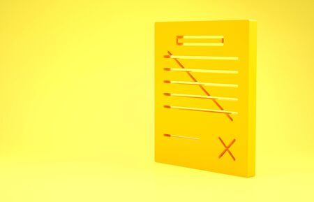 Yellow Delete file document icon isolated on yellow background. Rejected document icon. Cross on paper. Minimalism concept. 3d illustration 3D render