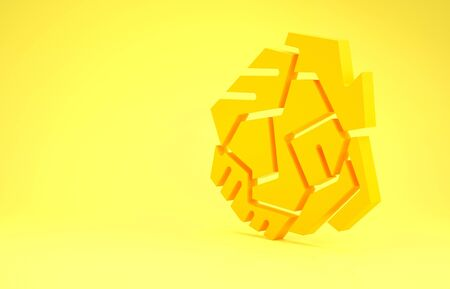 Yellow Crumpled paper ball icon isolated on yellow background. Minimalism concept. 3d illustration 3D render Stock Photo
