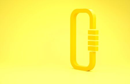 Yellow Carabiner icon isolated on yellow background. Extreme sport. Sport equipment. Minimalism concept. 3d illustration 3D render Banco de Imagens