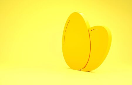 Yellow Chicken egg icon isolated on yellow background. Minimalism concept. 3d illustration 3D render