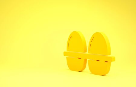 Yellow Chicken egg in box icon isolated on yellow background. Minimalism concept. 3d illustration 3D render