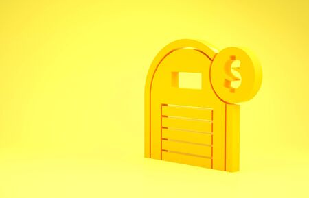 Yellow Warehouse with dollar symbol icon isolated on yellow background. Real estate concept. Minimalism concept. 3d illustration 3D render