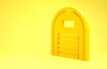 Yellow Warehouse icon isolated on yellow background. Minimalism concept. 3d illustration 3D render
