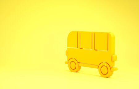 Yellow School Bus icon isolated on yellow background. Minimalism concept. 3d illustration 3D render Stok Fotoğraf