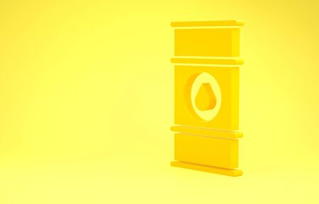 Yellow Oil barrel line icon isolated on yellow background. Oil drum container. For infographics, fuel, industry, power, ecology. Minimalism concept. 3d illustration 3D render Reklamní fotografie - 137429803