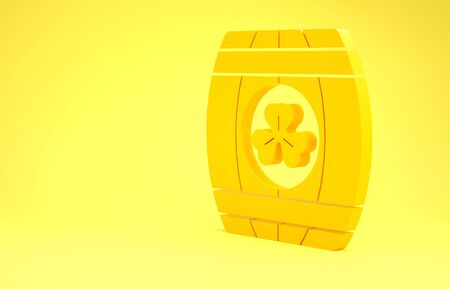 Yellow Wooden barrel with four leaf clover icon isolated on yellow background. Alcohol barrel, wooden keg for beer, whiskey, wine. Minimalism concept. 3d illustration 3D render Фото со стока